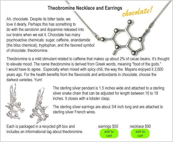 Made With Molecules: Theobromine Earrings :  with theobromine earrings molecules